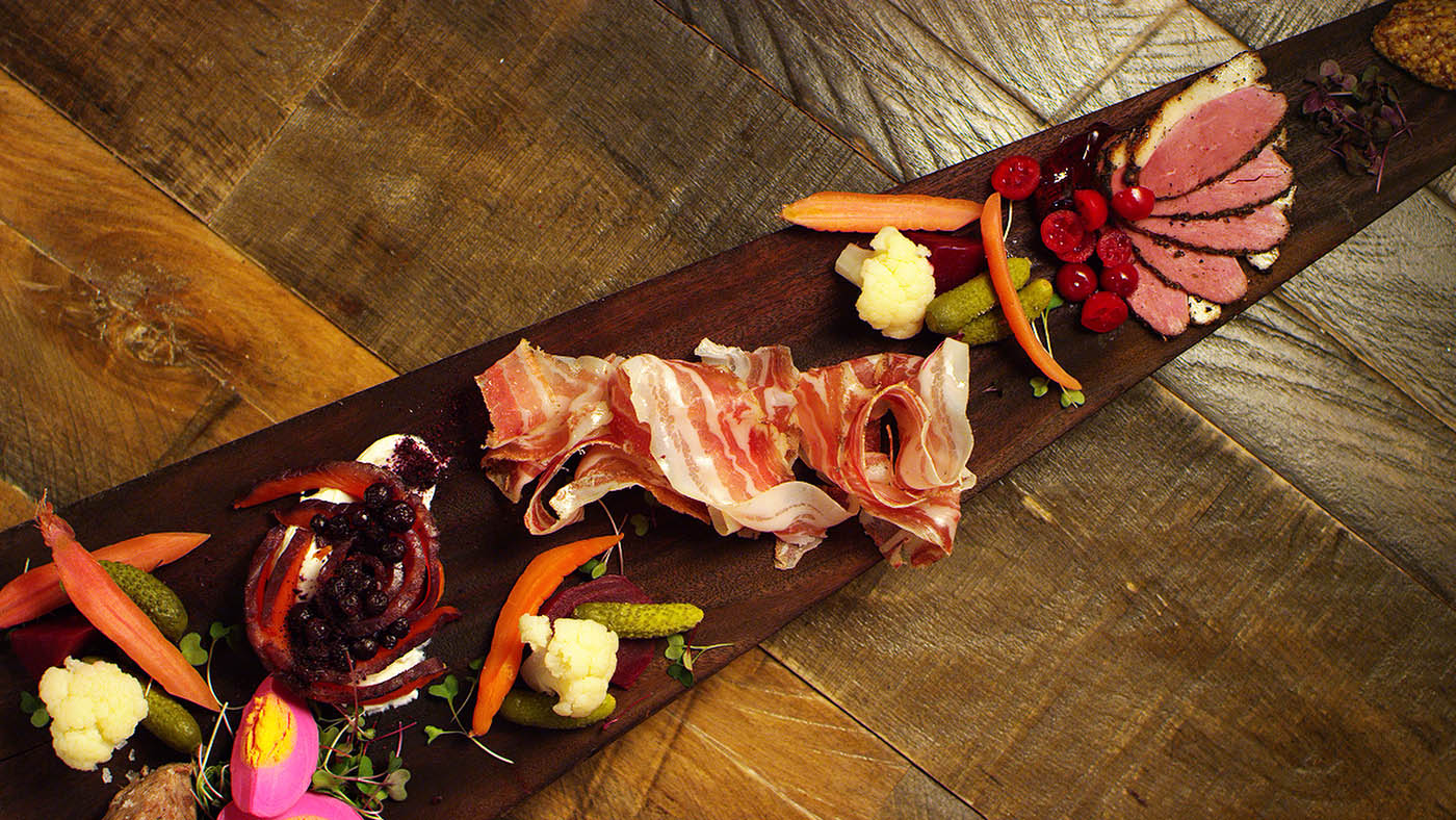 Charcuterie on a serving board.